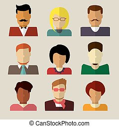 Set of people icons in flat design.