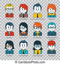 Set of people icons in flat style with faces. People...