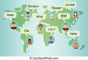 Set of People Icons on Earth Map Background