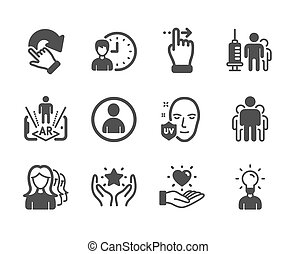 Set of People icons, such as Avatar, Group, Touchscreen gesture. Vector