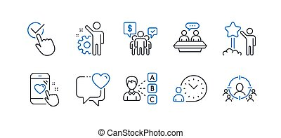 Set of People icons, such as Checkbox, Teamwork, Employee. Vector