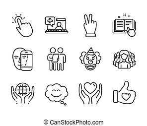 Set of People icons, such as Clown, Victory hand, Like hand. Vector