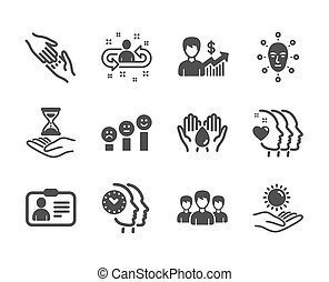 Set of People icons, such as Customer satisfaction, Helping hand, Time management. Vector