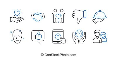 Set of People icons, such as Dislike hand, Hold heart, Like. Vector