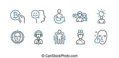 Set of People icons, such as Doctor, Face detect, Group. Vector
