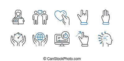 Set of People icons, such as Friends couple, Like video, Woman read. Vector