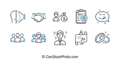 Set of People icons, such as Group, Face id, Journey path. Vector