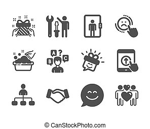 Set of People icons, such as Handshake, Smile chat, Gift. Vector