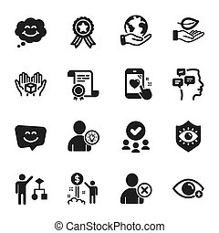 Set of People icons, such as Heart rating, Leaf, Smile face. Vector