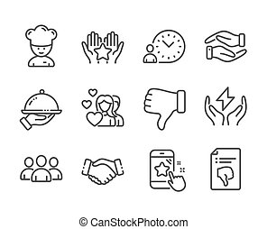 Set of People icons, such as Helping hand, Time management, Safe energy. Vector