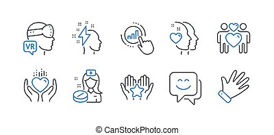 Set of People icons, such as Hold heart, Brainstorming, Heart. Vector