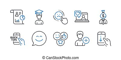 Set of People icons, such as Like, Dislike, Smile chat. Vector