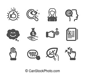 Set of People icons, such as Like hand, Three fingers, Smile chat. Vector