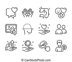 Set of People icons, such as Like, Hold heart, Hold box. Vector