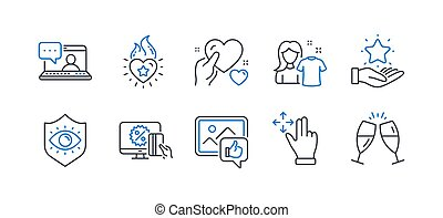 Set of People icons, such as Like photo, Clean shirt, Friends chat. Vector