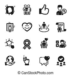 Set of People icons, such as Like, Touchscreen gesture, Heart. Vector