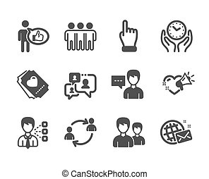 Set of People icons, such as Love ticket, Support chat, Friendship. Vector