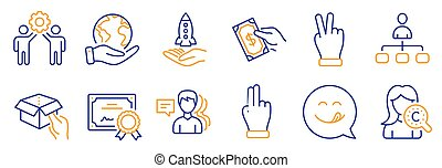 Set of People icons, such as Management, Hold box, Yummy smile. Vector