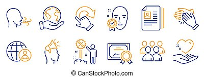 Set of People icons, such as Rotation gesture, Group, International recruitment. Vector