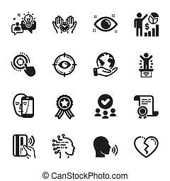 Set of People icons, such as Safe time, Health eye, Idea. Vector