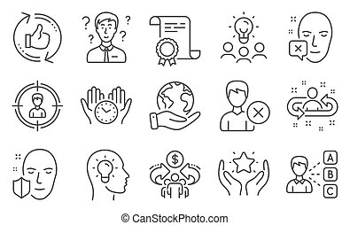 Set of People icons, such as Safe time, Sharing economy, Ranking. Vector
