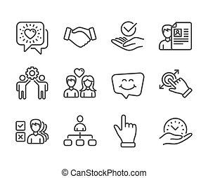 Set of People icons, such as Safe time, Smile chat, Click hand. Vector
