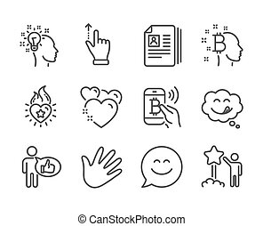 Set of People icons, such as Smile chat, Cv documents, Star. Vector