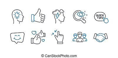 Set of People icons, such as Smile chat, Like hand, Idea head. Vector