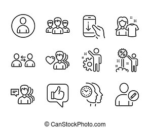 Set of People icons, such as Time management, Group, People. Vector