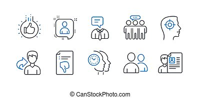 Set of People icons, such as Users, Recruitment, Time management. Vector