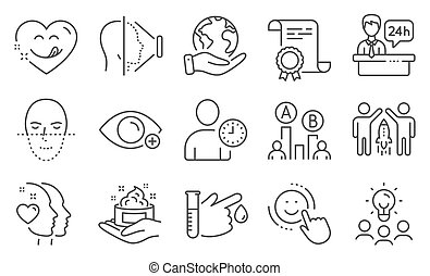 Set of People icons, such as Yummy smile, Face recognition, Skin care. Vector