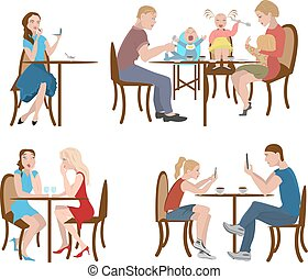 Set of people in a cafe