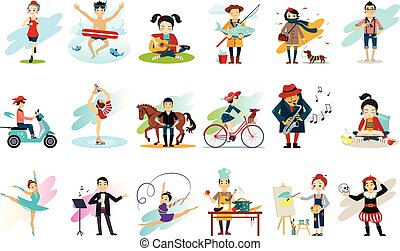 Set of people in various actions. Males and females engaged in their favorite hobbies. Active and healthy lifestyle. Cartoon characters. Colorful flat vector design