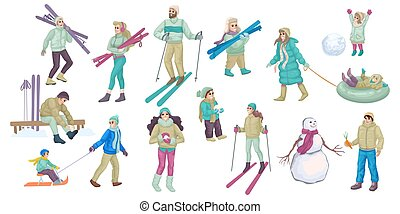 Set of people involved in winter activity. Family lifestyle. Vector illustration