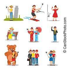 Set of people making selfies. Young men and women with smartphones and monopods. Colorful flat vector design