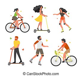 Set of people on bicycle, rollers and scooter. Having fun