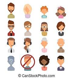 Set of people portrait face icons web avatars flat style...