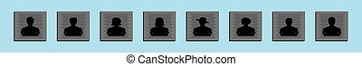 set of people posing for police mugshot cartoon icon design template with various models. vector illustration