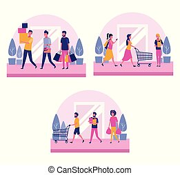 Set of people shopping