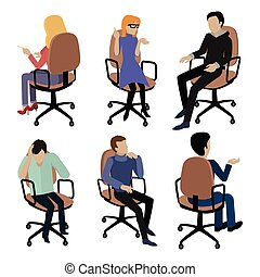 Set of People Sitting. Man and Woman at Work - Set of people...