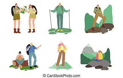 Set of people travelers enjoying hiking and traveling on nature with backpacks