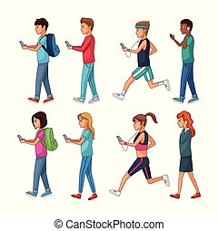 Set of people using smartphone