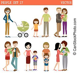 Set of people with children