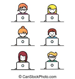 Set of people with computer icons