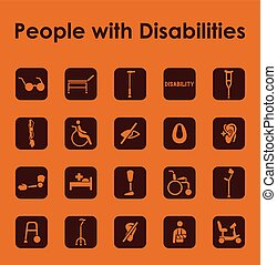 Set of people with disabilities simple icons