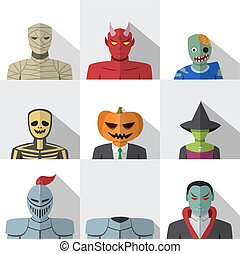 Set of people with halloween costume in flat icons