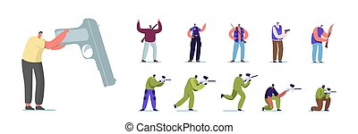 Set of People with Hand Gun. Male Female Characters Playing Paintball, Police Officer in Uniform and Hunter with Rifle