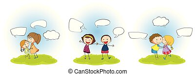 Set of people with speech balloon