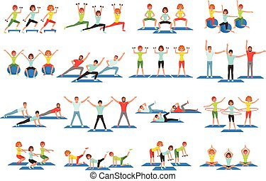 Set of people working out in gym. Young girls and guys doing exercises. Physical activity. Healthy lifestyle. Men and women in sportswear. Flat vector design