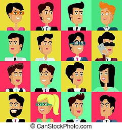 Set of Peoples Faces Vector in Flat Design.
